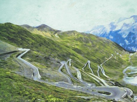 stylized photo of Stelvio Pass in Italy